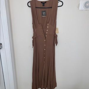 Forever 21 Taupe Maxi Dress w/ Belt and Buttons